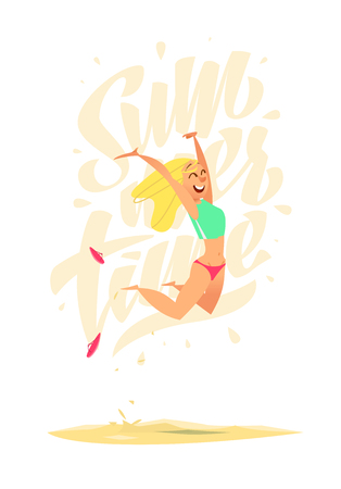 moment: Summer character. Happy moment. The girl jumped up high Illustration