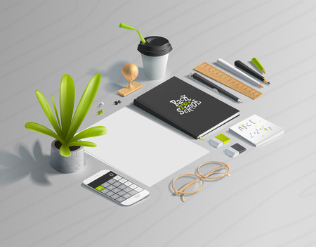 Mockup scenes on education theme. School objects on the wooden table for your graphic design. Bright colors in funny set.