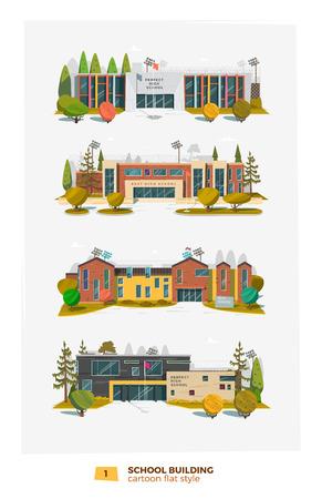 Four school building in flat cartoon style.