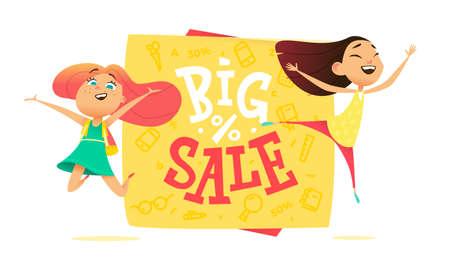 joyfull: Big sale poster for school theme. Happy pupils Illustration