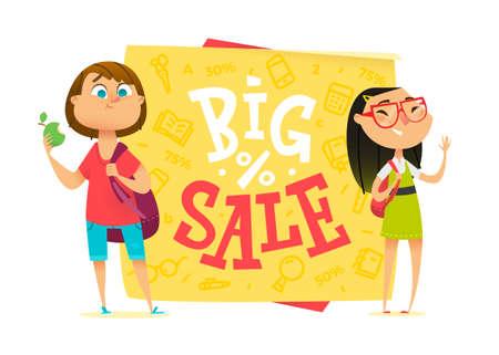 pupils: Big sale poster for school theme. Happy pupils Illustration