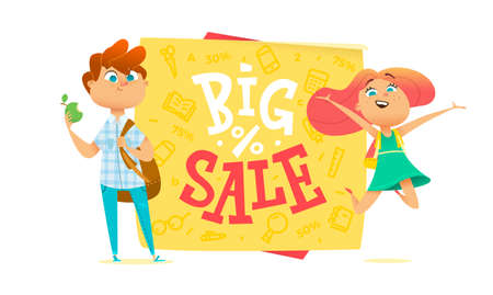 teenagers learning: Big sale poster for school theme. Happy pupils Illustration