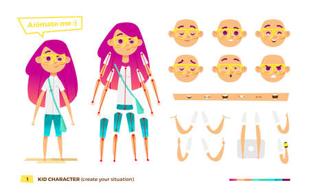 body parts: Pupil character for your scenes. Parts of body template for design work and animation.