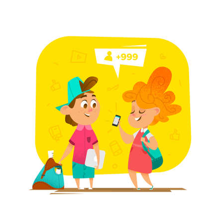 modern lifestyle: Pupils communication in school. Modern lifestyle trends Illustration