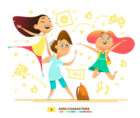 pupils: Happy pupils characters. Cute kids are playing. Illustration