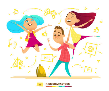 schoolmate: Happy pupils characters. Cute kids are playing. Illustration