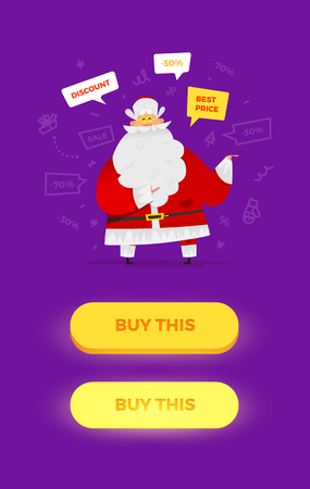 Santa Claus vector illustration. Funny situation with old man character. Pressed and not pressed buttons for your graphic design