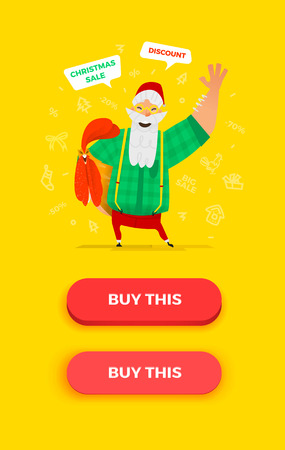 pressed: Santa Claus vector illustration. Funny situation with old man character. Pressed and not pressed buttons for your graphic design