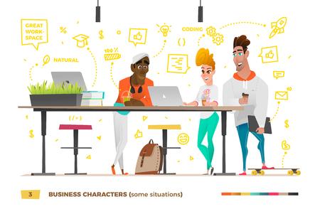 Personajes de negocios en el entorno de trabajo. Ilustración de vector