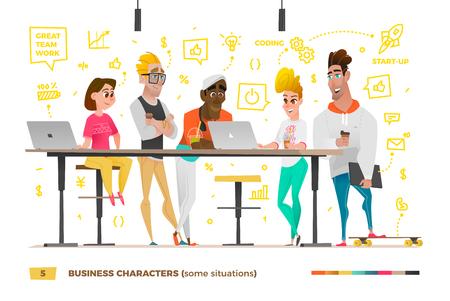 Personajes de negocios en el entorno de trabajo.