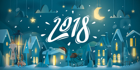 Winter greeting card for New Year celebrate with night atmosphere.