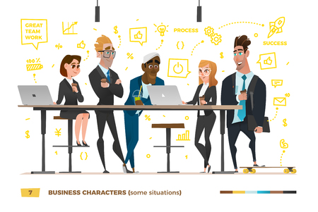 Business characters in the working environment.