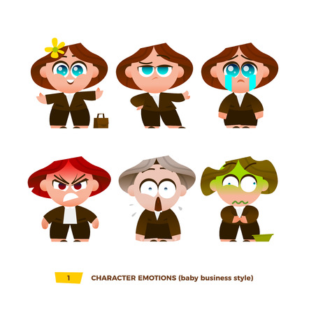 Cute baby characters emotions set. Cartoon flat style