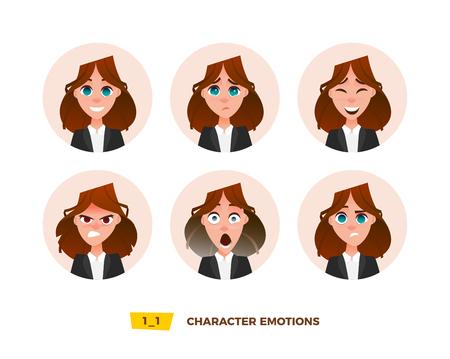 Personajes avatares emoción en el círculo. Estilo plano de dibujos animados
