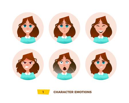 I personaggi emettono emozioni nel cerchio. Cartoon stile piatto
