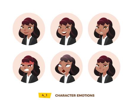 円内の文字アバターの感情。漫画フラットスタイル