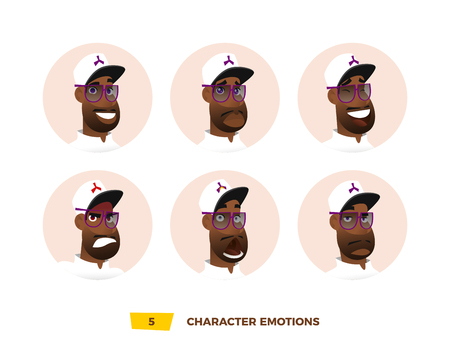 african business: Characters avatars emotion in the circle. Cartoon flat style