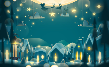 Merry Christmas and Happy New Year greeting card in cartoon style. Winter night with flying Santa Claus on the sledge. Illustration