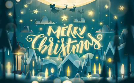 Merry Christmas greeting card in cartoon style.