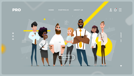 Main Abstract Web Page with Cartoon Business Characters. Modern Design for Your Work