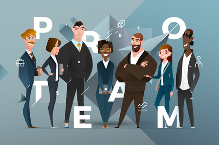 Abstract Business Banner Design with Cartoon Characters in Classic Style Dress