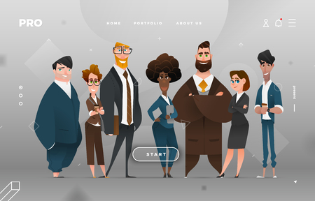 Main Page Business Design with Cartoon Character for Web Site Illustration