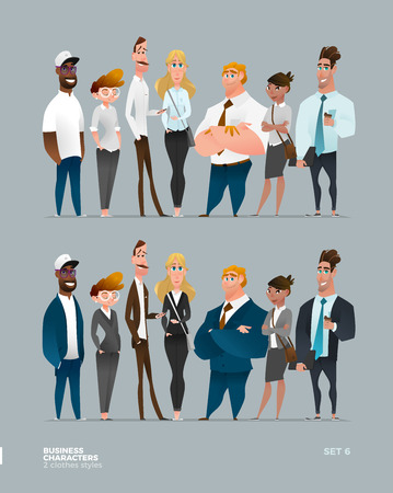 Business Characters Collection in Two Different Modern Clothes Style Illustration