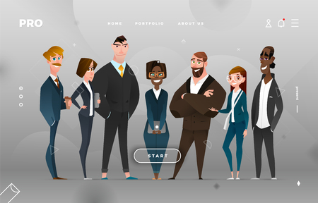 Main Page Business Design with Cartoon Character for Web Site Ilustrace