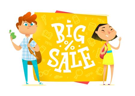 Big sale poster for school theme. Happy pupils Illustration