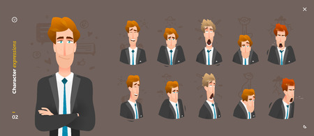 Character Expressions. 5  Face Man Emotions in Front and 3,4 Views