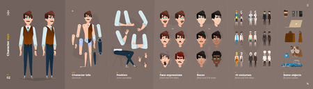 Cartoon Character Animation Set For Your Motion Design. 9 Clothing Variations Illustration
