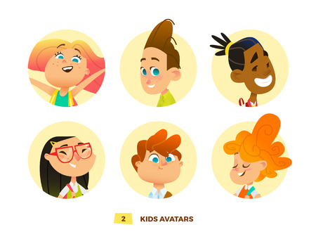 Pupils avatars collection for web and print design Illustration