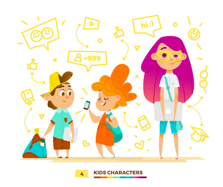 Pupils characters communication. Modern lifestyle trends. People group