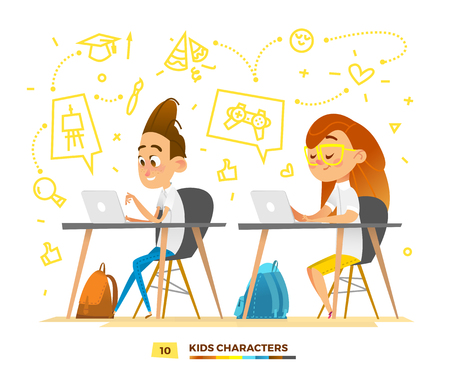 Boy and girl characters studying in a classroom. Modern pupils in action