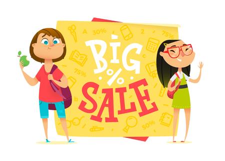 Big sale poster for school theme. Happy pupils Vetores