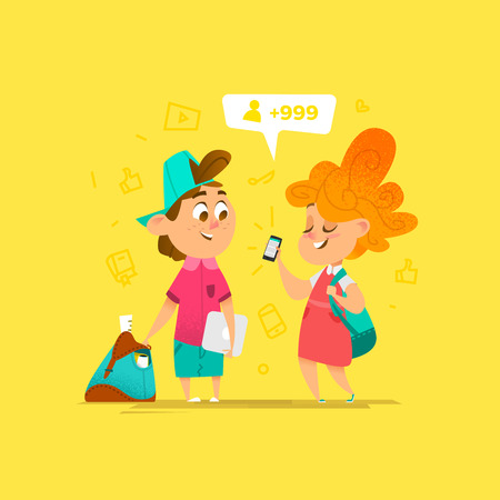 Two Happy School Kids Communication. Cartoon Style Illustration
