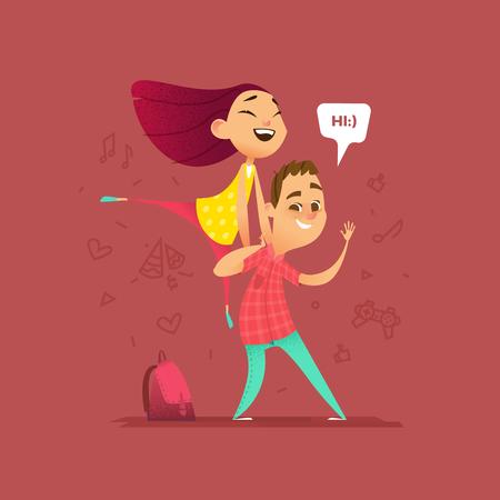 Happy School Children. Cartoon Style Illustration