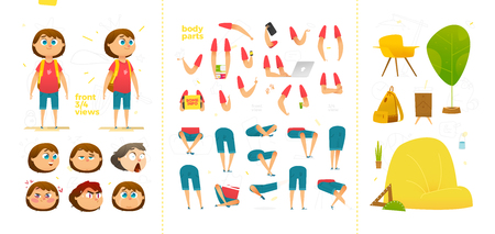 Young School Boy Character for Your Print, Web and Motion Design