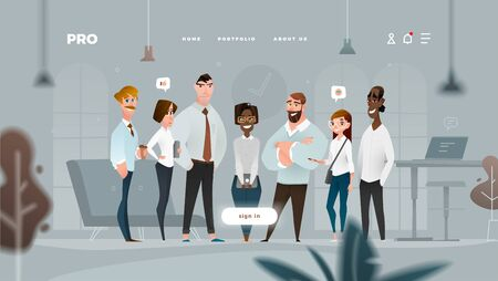 Main Page Web Design with Business Cartoon Characters in Flat Style for Your Projects. Cold Look.