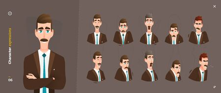 Cartoon Character Expressions. Face Emotional and Body Gesture Illustration