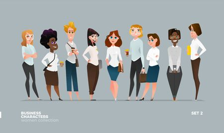 Businesswomen Collection in Modern Casual Business Wear. DIfferent Style Illustration