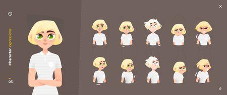 Woman Cartoon Character Expressions set. Facial Emotional.