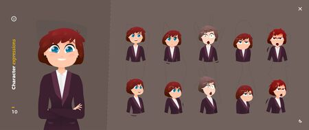 Woman Cartoon Character Expressions. Face Emotional.