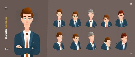Cartoon Character Expressions. Face Emotional and Body Gesture