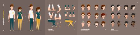 Casual Clothes Style. Guy and Girl Cartoon Characters for Animation. Default Body Parts Poses with Face Emotions. Five Ethnic Styles Illustration