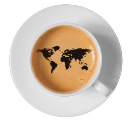 world map drawing art on coffee foam in cup isolated on white background