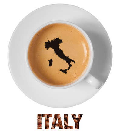 scum: Italy map drawing art on coffee foam in cup isolated on white background