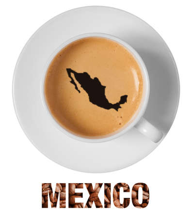Mexico map drawing art on coffee foam in cup isolated on white background