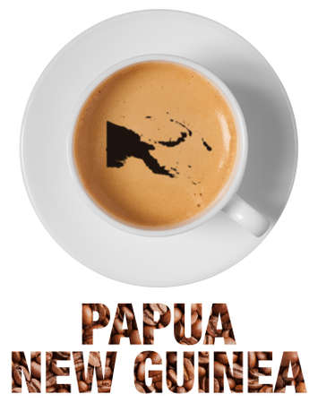 Papua New Guinea map drawing art on coffee foam in cup isolated on white background