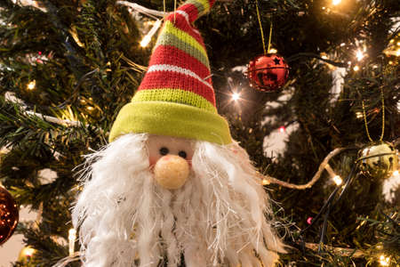 Santa Claus on christmas tree with white beard and green & red wool cap ,, christmas red and gold balls, and multicolor lights at background